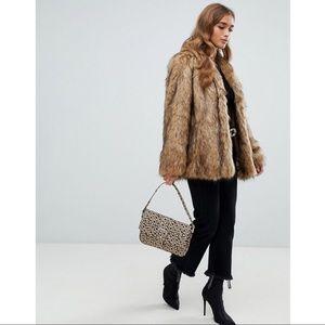 beeb1a92a68e ASOS DESIGN Petite Stand Collar Faux Fur Coat